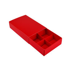 6 Pack Chocolate Box Slide over cover with removable inserts - Gloss Red (White Inside)