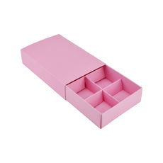 6 Pack Chocolate Box Slide over cover with removable inserts - Matt Pink