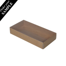 SAMPLE - Rectangle 8 Gift Box with Clear Lid - Kraft Brown (Brown Inside) - Paperboard