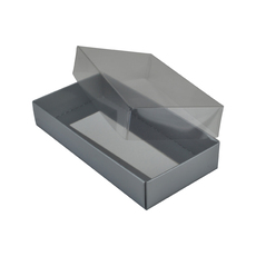Rectangle 8 Gift Box with Clear Lid - Gloss Silver (Minimum Order 100 units)  - Paperboard