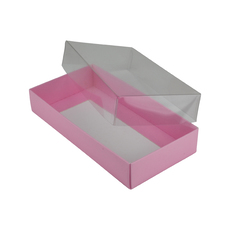 Rectangle 8 Gift Box with Clear Lid - Matt Pink (Minimum Order 100 units)