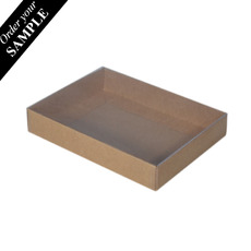 SAMPLE - Rectangle 12 Gift Box with Clear Lid - Craft Brown (Brown Inside)