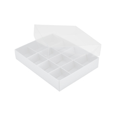 12 Pack Chocolate Box Base & Clear Lid - Gloss White (Minimum Order 100 units)  - Paperboard