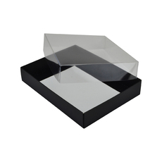 Rectangle 12 Gift Box with Clear Lid - Gloss Black (Minimum Order 100 units)