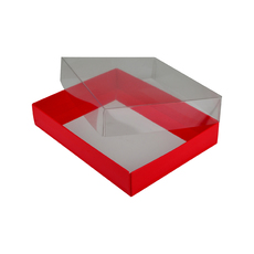 Rectangle 12 Gift Box with Clear Lid - Gloss Red (Minimum Order 100 units)  - Paperboard