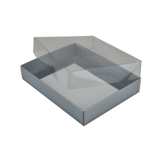 Rectangle 12 Gift Box with Clear Lid - Gloss Silver (Minimum Order 100 units)  - Paperboard