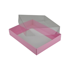 Rectangle 12 Gift Box with Clear Lid - Matt Pink (Minimum Order 100 units) (White Inside)