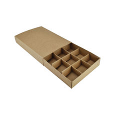 12 Pack Chocolate Box Slide over cover with removable inserts - Craft Brown (Brown Inside)