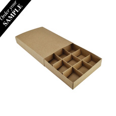 SAMPLE - 12 Pack Chocolate Box Slide over cover with removable inserts - Craft Brown (Brown Inside)