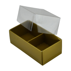 2 Pack Chocolate Box Base & Clear Lid - Gloss Gold (Minimum Order 100 units)