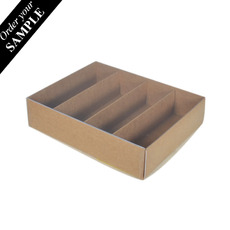 SAMPLE - 24 Macaron Box with Insert & Clear Lid - Kraft Brown Paperboard (285gsm)