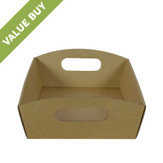 Small Hamper Tray Brown Cardboard (Brown Inside)