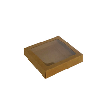 100mm Cookie Box - Kraft Brown One Piece Box with Clear Window (Brown Inside) - Paperboard