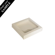 SAMPLE - 100mm Cookie Box - Gloss White One Piece Box with Clear Window