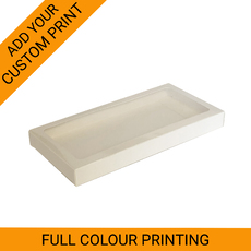 PRINTED 200mm Cookie Box - Gloss White One Piece Box with Clear Window