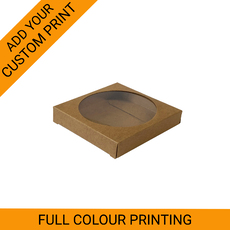 PRINTED One Cookies Box - Kraft Brown One Piece Box with Clear Window (Brown Inside)