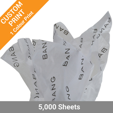Custom Printed Tissue Paper - 1 Colour Print on White Tissue Paper - Bulk 5000 Sheets
