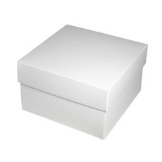 Square Medium Gift Box - Gloss White  (Separate Base and Lid) - Paperboard