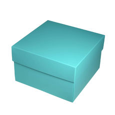 Square Medium Gift Box - Matt Blue  (Separate Base and Lid) - Paperboard - Temp out of Stock
