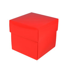 Square Midi Gift Box - Gloss Red  (Separate Base and Lid)