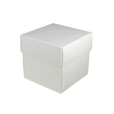 Square Small Gift Box - White  (Separate Base and Lid) - Paperboard