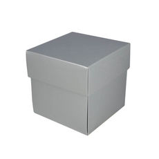 Square Small Gift Box - Gloss Silver  (Separate Base and Lid)