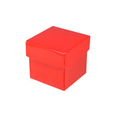 Square Tiny Gift Box - Gloss Red  (Separate Base and Lid) - Paperboard