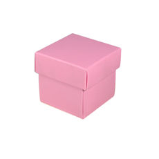 Square Tiny Gift Box - Matt Pink  (Separate Base and Lid) - Paperboard