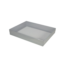 Slim Line A5 Gift Box with Clear Lid - Gloss Silver  (Separate Base and Lid) - Paperboard