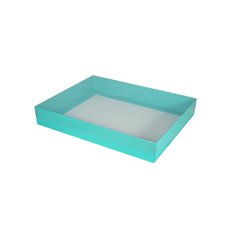 Slim Line A5 Gift Box with Clear Lid - Matt Blue  (Separate Base and Lid) - Paperboard - Temp out of Stock