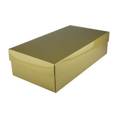 Slim Line Double Wine Gift Box - Gloss Gold (optional insert available)  (Separate Base and Lid) - Paperboard