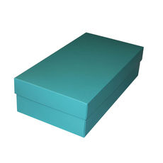 Slim Line Double Wine Gift Box - Matt Blue (optional insert available)  (Separate Base and Lid) - Paperboard