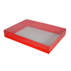 Slim Line A4 Gift Box - Gloss Red with Clear Lid (White Inside)