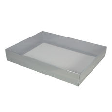 Slim Line A4 Gift Box - Gloss Silver with Clear Lid