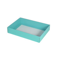 Slim Line C6 Gift Box - Matt Blue - Paperboard Base with Clear Lid - Temp out of Stock