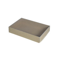 Slim Line C6 Gift Box - Recycled Brown with Clear Lid (Brown Inside)