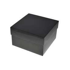 Square Large Gift Box - Gloss Black Paperboard (285gsm) (Base & Lid)