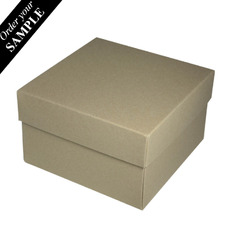 SAMPLE - Square Large Gift Box - Recycled Brown (Brown Inside) (Separate Base and Lid) - Paperboard