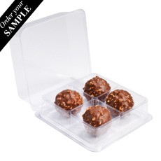 SAMPLE - Clear 4 Chocolate & Sweet Box - One Piece Bifold Plastic