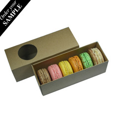SAMPLE - Long Macaron & Choc Box - Two Piece Box with Slide Over Cover with Clear Window  - Paperboard
