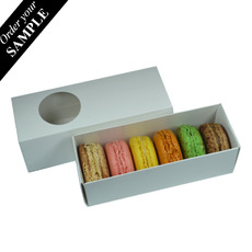 SAMPLE - Long Macaron & Choc Box- Gloss White Two Piece Box with Slide Over Cover  with Clear Window