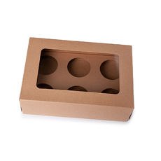6 Cupcake Box with removable insert - Kraft Brown