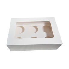 TEMP OUT OF STOCK 6 Cupcake Box with removable insert - Smooth White