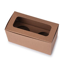 2 Cupcake Box with removable insert - Kraft Brown Paperboard (285gsm)