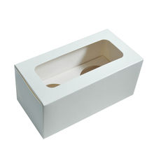 2 Cupcake Box with removable insert - Smooth White Paperboard (285gsm)