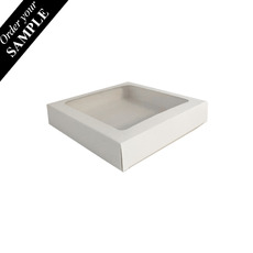 SAMPLE 180mm Square Two Piece Cookie and Dessert Box – One Piece Box with Clear Window and Slide in Tray – Gloss White
