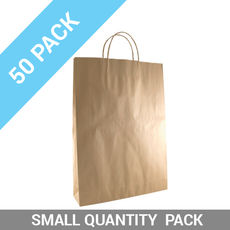 50 PACK - Brown Kraft Paper Gift Bag Medium