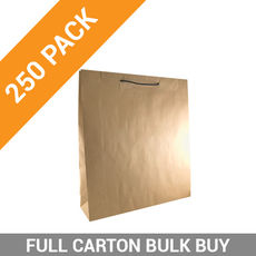 Deluxe Brown Kraft Paper Gift Bag Large - 250PK
