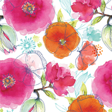 Floral Watercolour on White WrapWrapping Paper - 500mm x 50metres