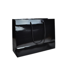 Black Gloss - European Gloss Laminated Gift Bag - Medium (100PK)